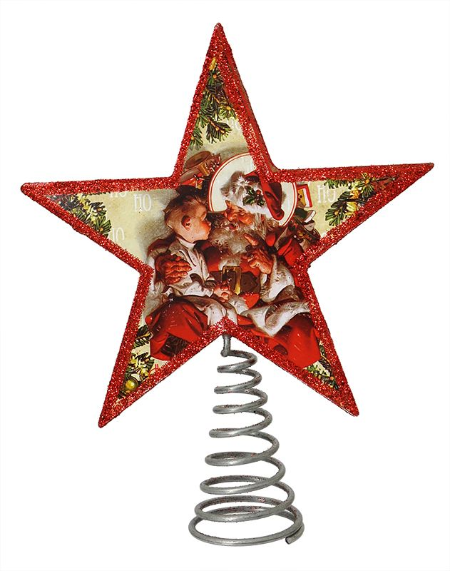 the night before christmas treetopper saturday evening post image printed paper glitter wire 65x5 cp6923
