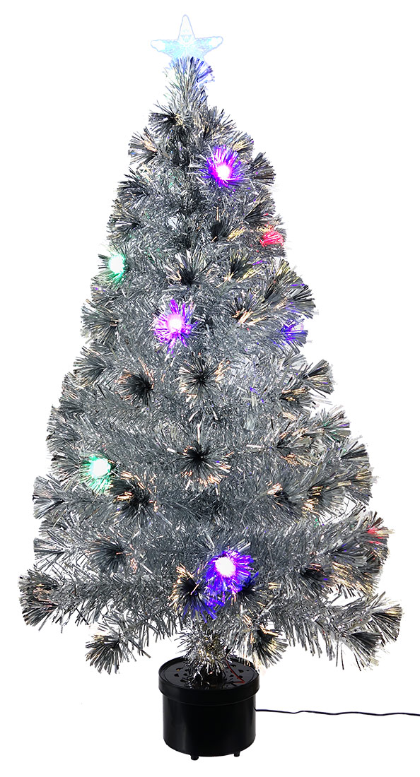 silver tinsel tree with led lights tinsel tree with led lights 48 tall x 26 wide gvem0760 15999