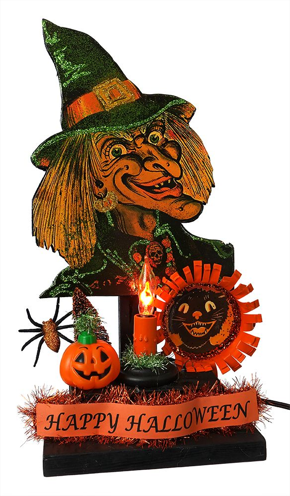 vintage 1920s beistle image vintage witch happy halloween display decoupaged wood cutout electric paper mache festooning plastic 16x10x55 sgbswl 72