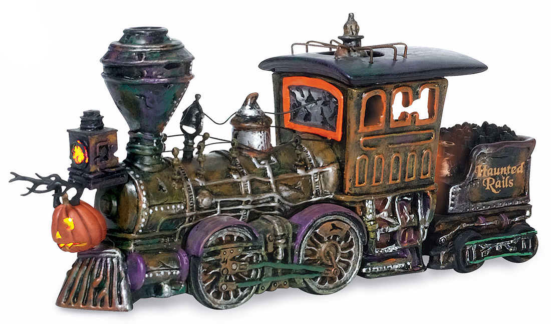 halloween 10th anniversary 1st in a series of 4 cars haunted rails engine coal car light flickers in stove adaptor included 10x275x475 800001