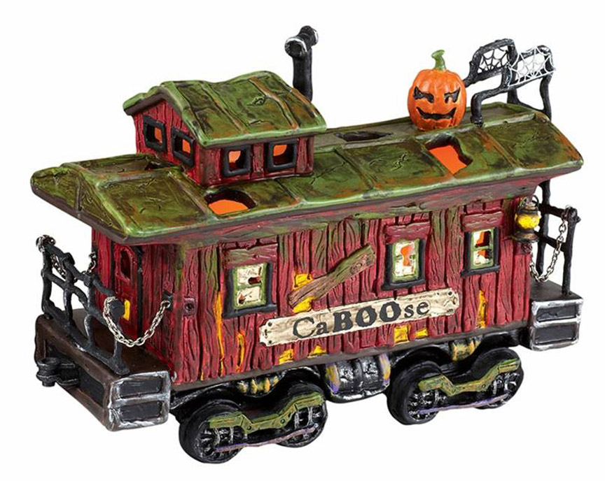 coordinates with the 10th anniversary village haunted rails station haunted rails caboose lit power source not included 65x275x475 4020957