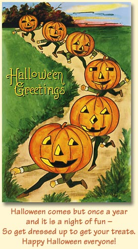 Old world christmas greeting cards jack olantern parade 89757 halloween comes but once a year it is a night of fun so get dressed up to get your treats happy halloween everyone m4hsunfo