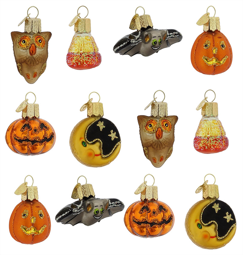 Halloween Ornaments, glass, vintage and reproduction