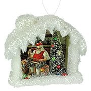 2018 santa checking his list diorama scene can hang or stand pressed paper batting tinsel glitter bottle brush 6x55x3 gvlc0776a