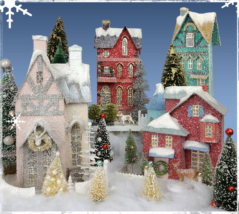 vintage christmas village houses