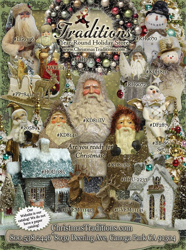 Look for our adsin romantic homes cottage bungalows for Antique christmas decoration