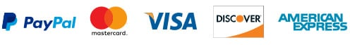 Payment Methods: Visa, Mastercard, Discover, AMEX, PayPal