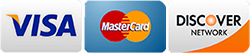 We accept Visa, Mastercard, & Discover