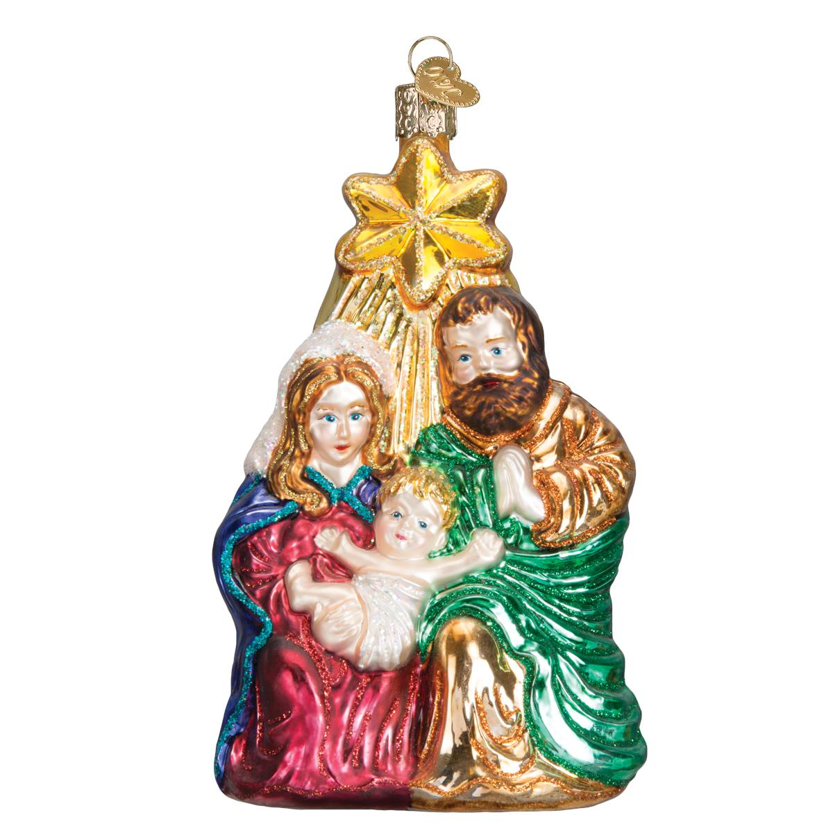 Nativity At Night Glass Ball Religious Christmas Ornament: Holy Family With Star Ornament