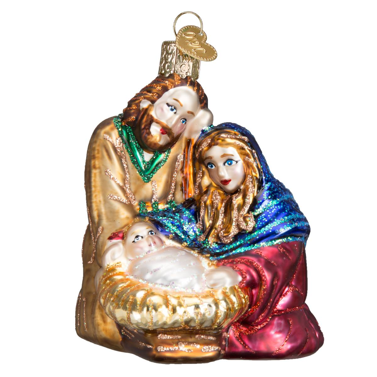 Nativity At Night Glass Ball Religious Christmas Ornament: Holy Family Ornament
