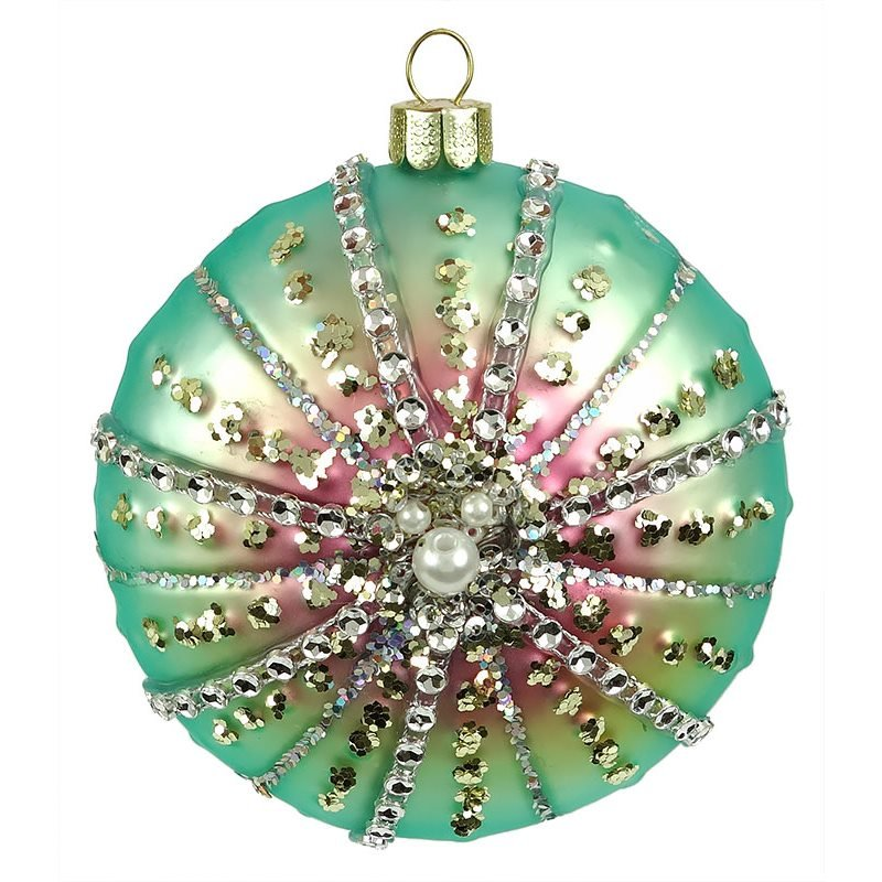 Turquoise Pink Jeweled Sea Urchin Ornament