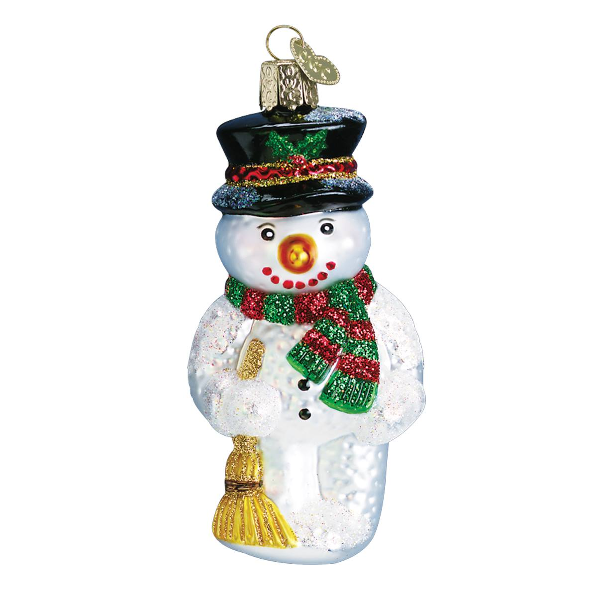 snowman with broom ornament double tap to zoom - Christmas Broom Decoration