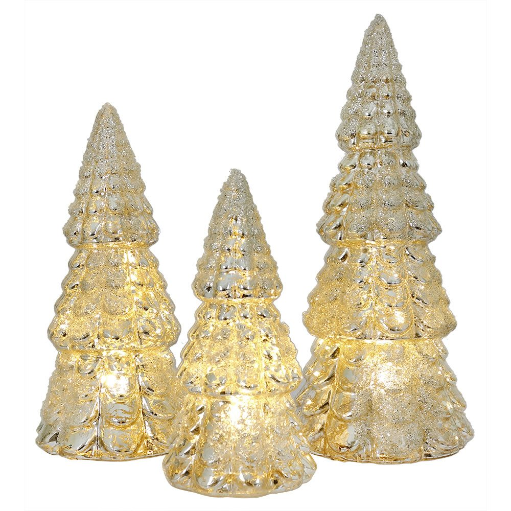 Lighted Glass Trees Set 3 Traditions