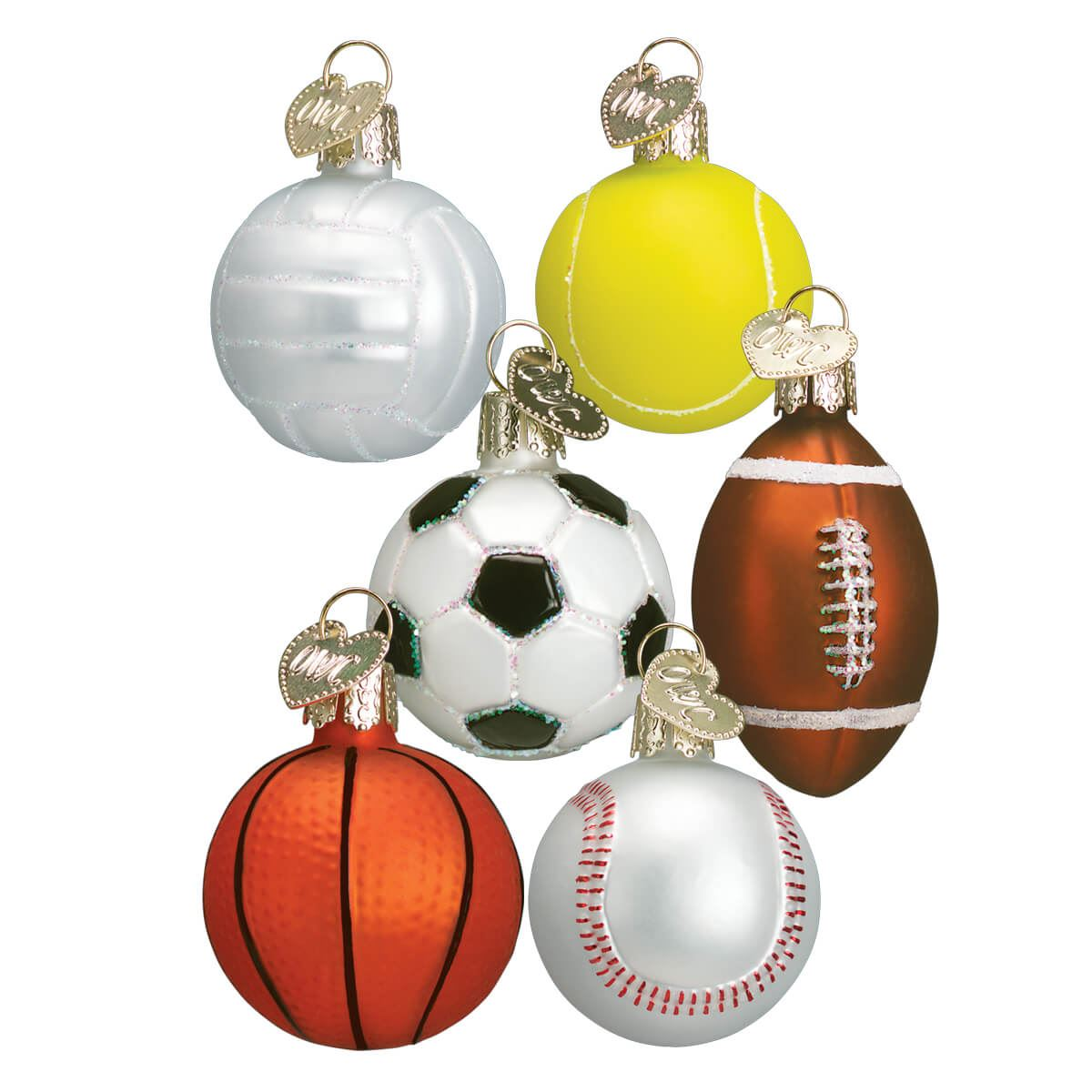 Miniature Sport Ball Ornaments Set 6 By Old World Christmas Traditions