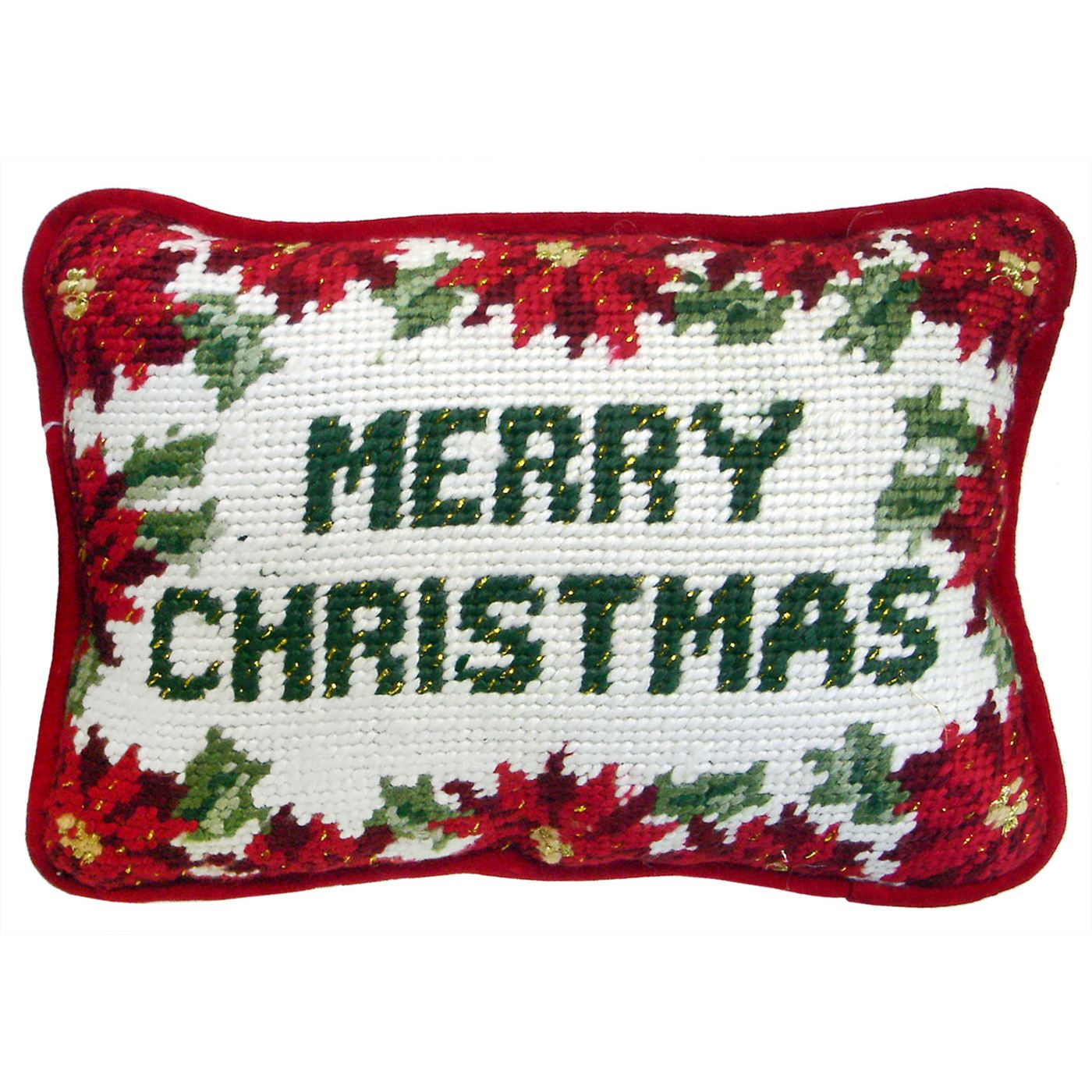 Merry Christmas Needlepoint Pillow - Traditions