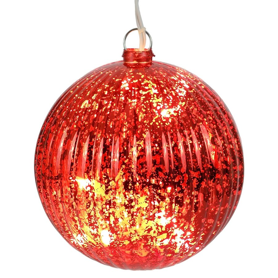 Illuminated Led Ornaments: Lighted Red Ball Christmas Ornament