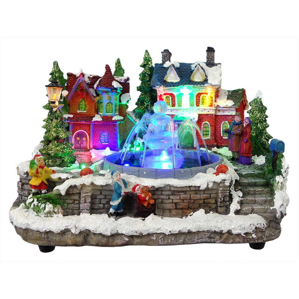 christmas village lighted fountain
