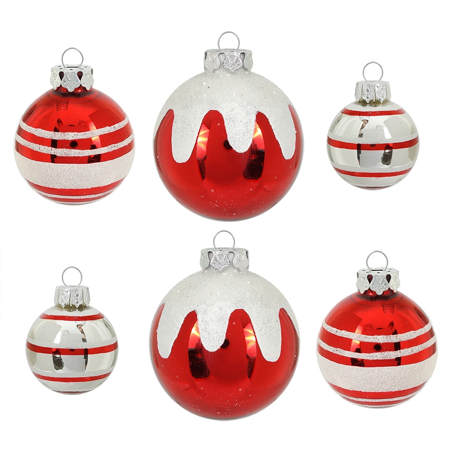red white glass ball ornaments set6