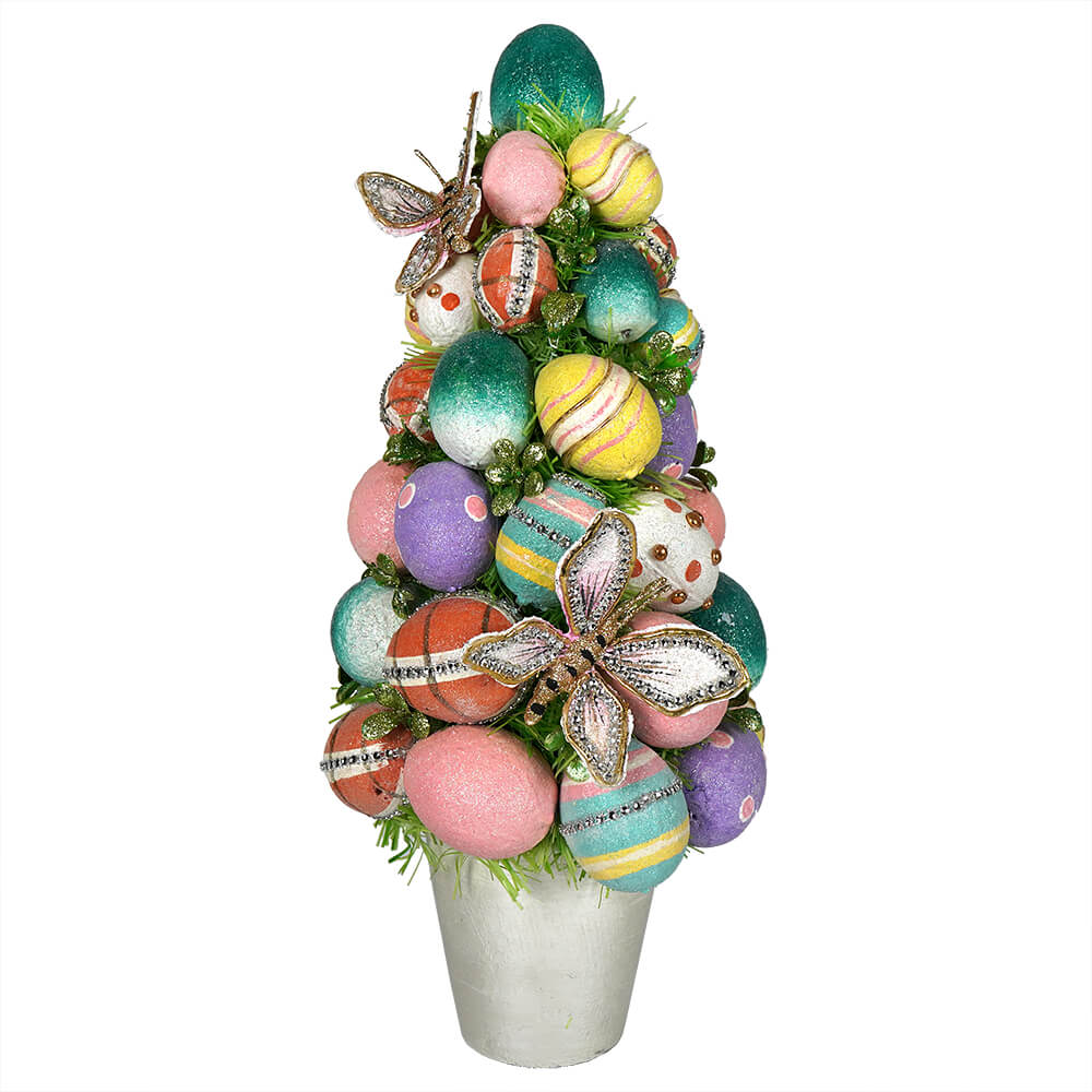 Pink Tinsel Egg with Butterflies Spring Greens /& Netting Flowers