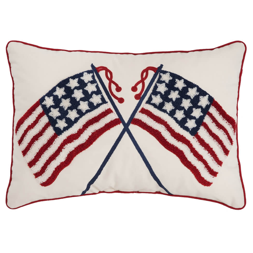 Double Us Flag Pillow Traditions