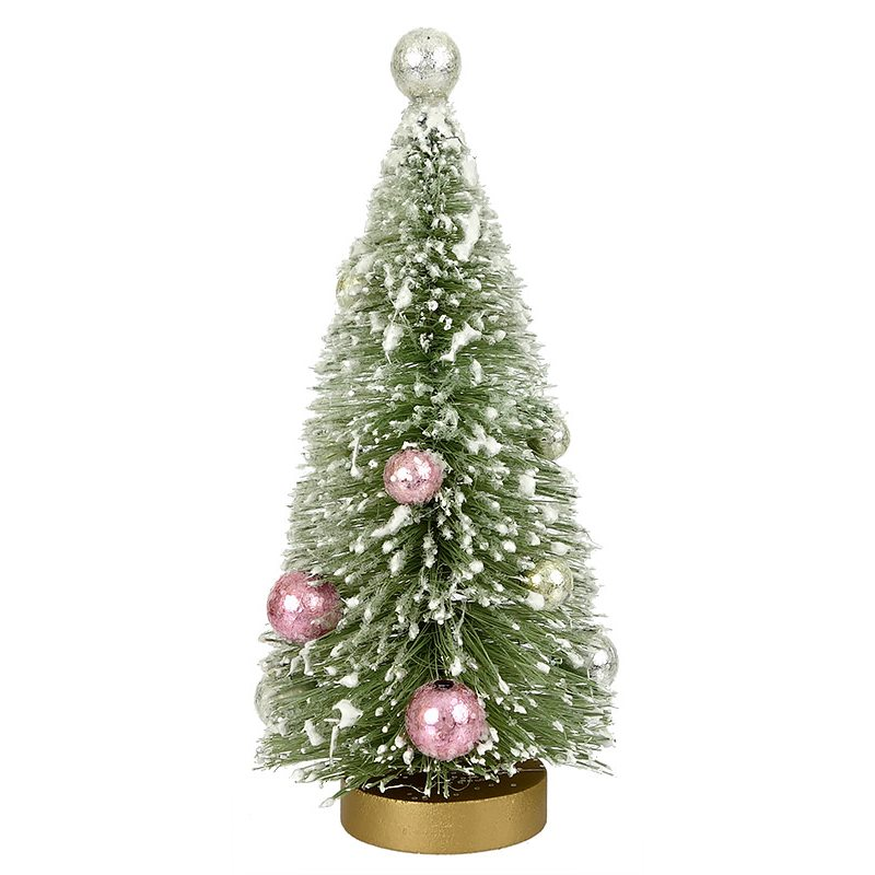 mint green tree with silver top ornament