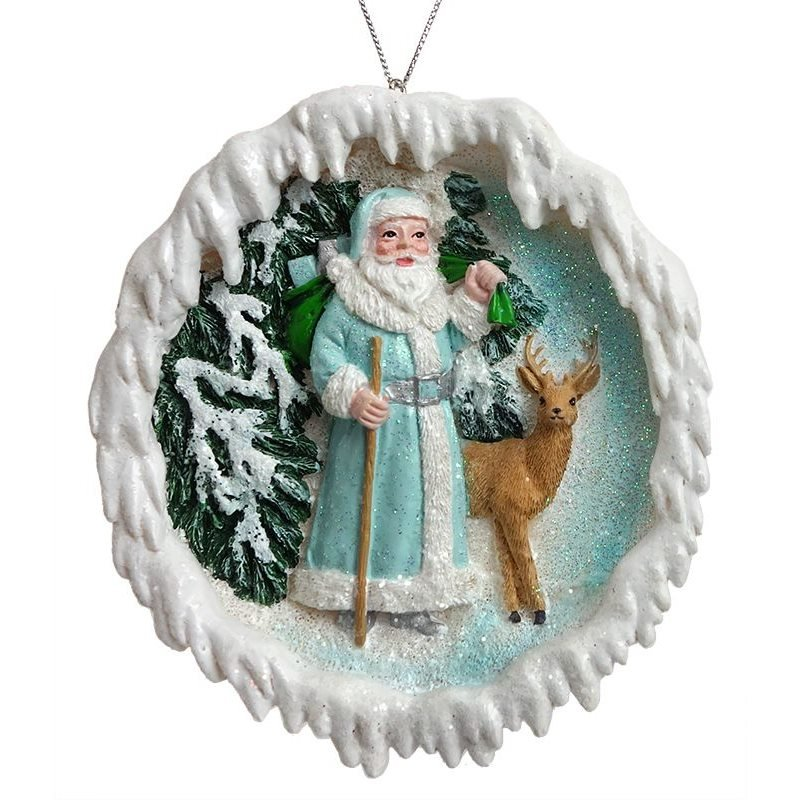 Icy Blue Santa with Reindeer Christmas Ornament Tree Decoration