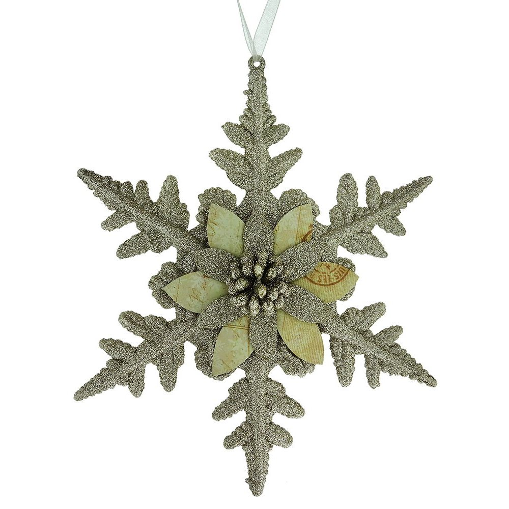 platinum snowflake with poinsettia ornament