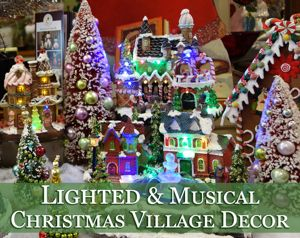lighted christmas village decor