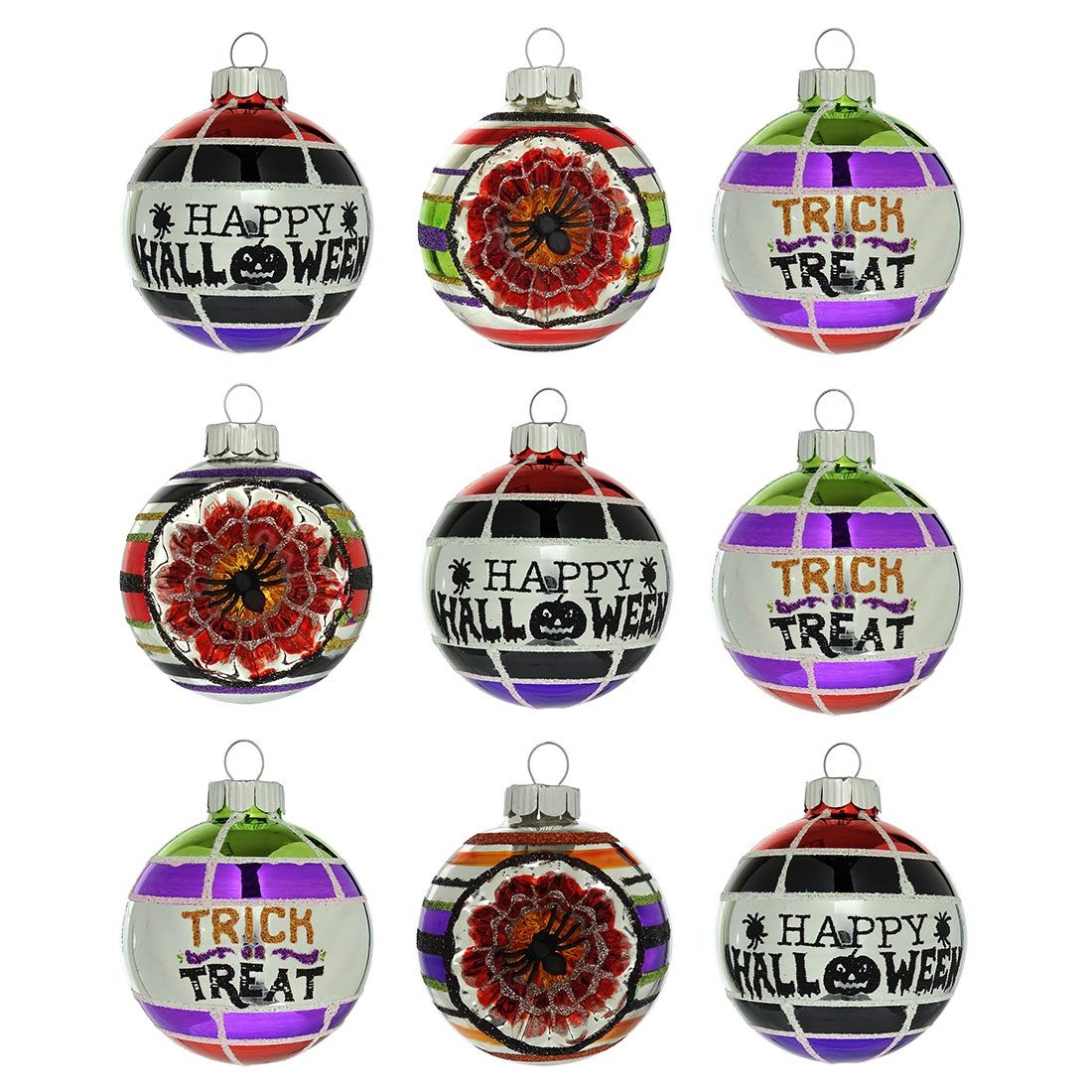 12 HALLOWEEN GLASS SPIDERWEB BALL ORNAMENTS GLITTER SHINY BRITE RADKO