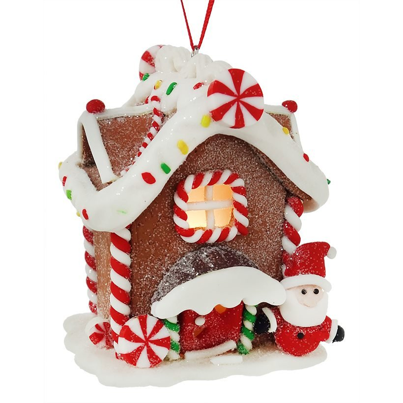 cheap for discount c8367 a4fe0 Lighted Gingerbread Santa House Ornament