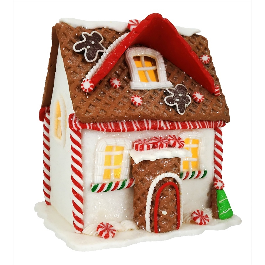 candy cane gingerbread lighted house
