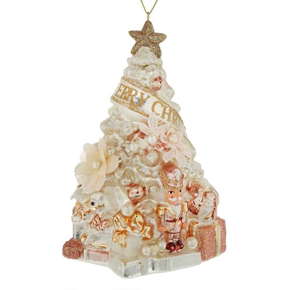 Dd Christmas.Christmas Tree With Flowers Ornament