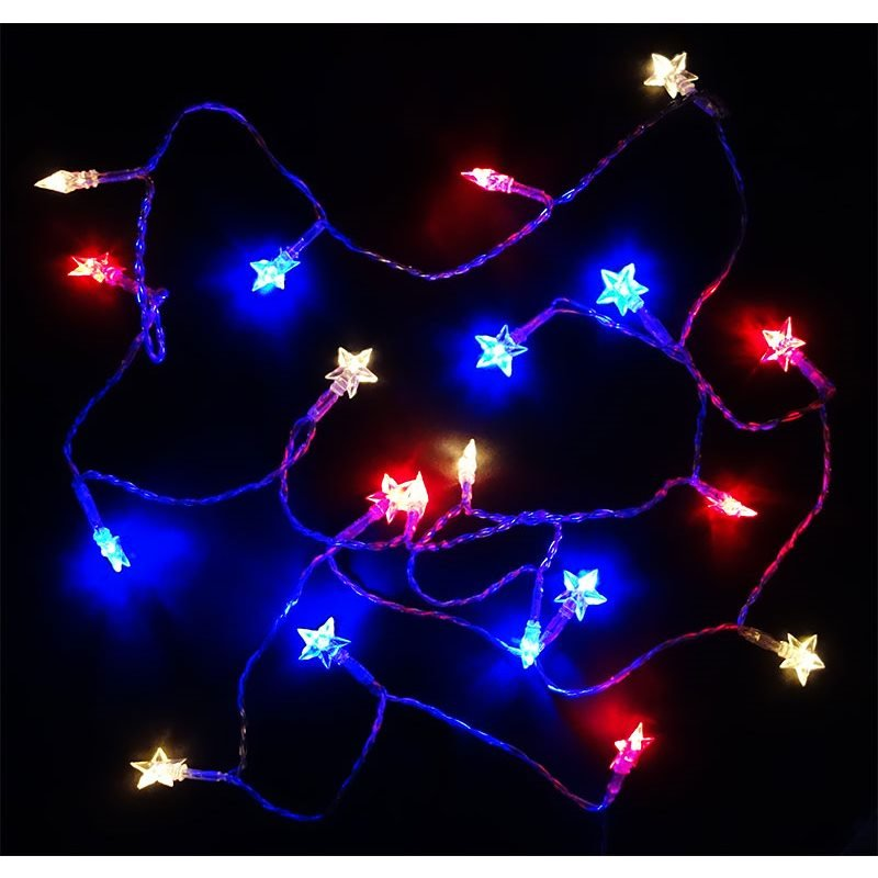 patriotic red white and blue star lights - Red White And Blue Christmas Lights
