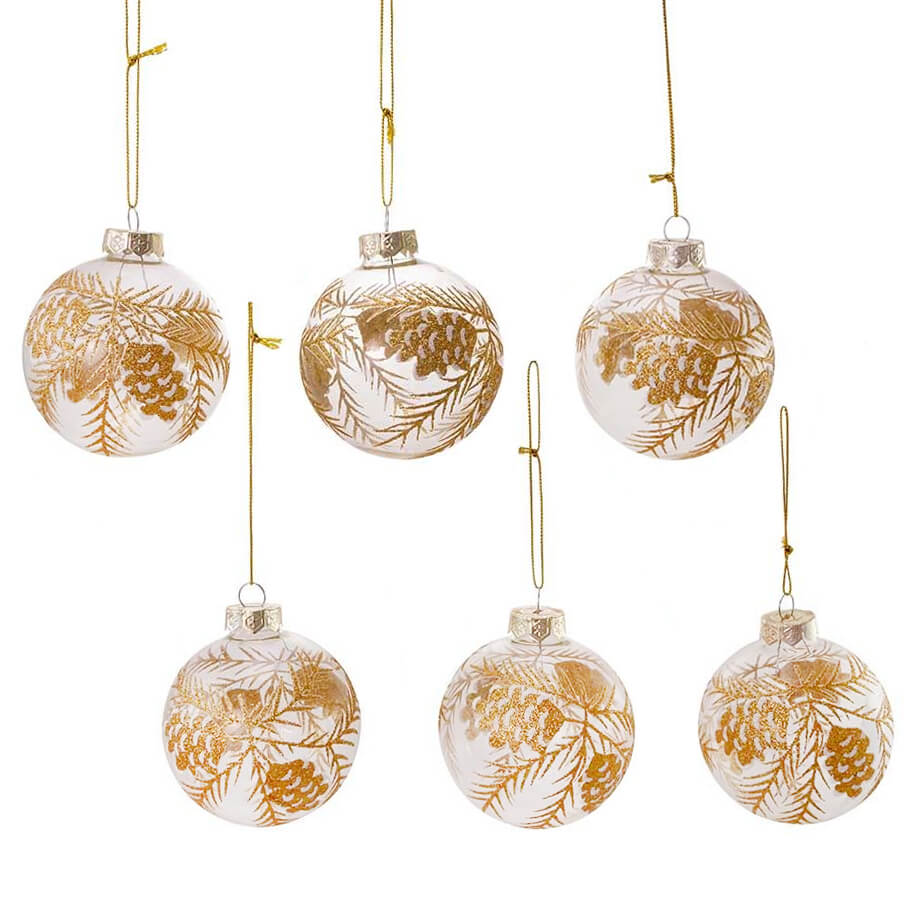 Vintage Gold with Silver Glittered Ornaments Set of 4