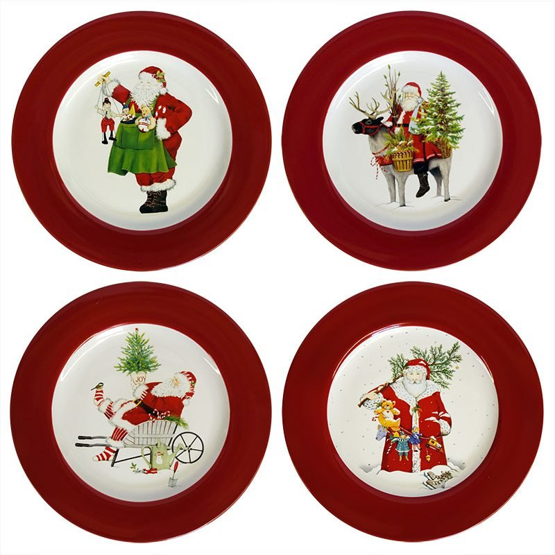 Santa Salad Dessert Plates Set 4 By Glitterville Traditions