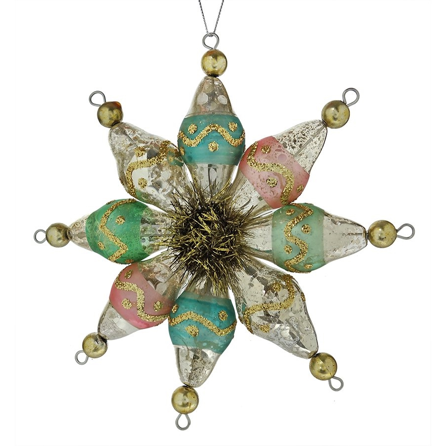 multi colored snowflake finial ornament - Teal And Silver Christmas Decorations