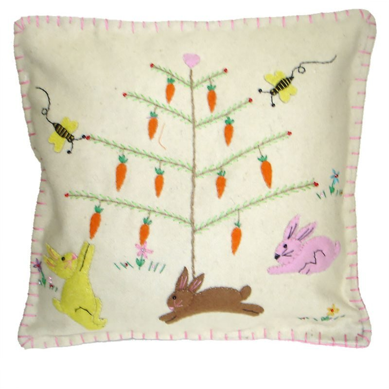 Hand stitched easter pillows tree skirts runners traditions easter tree with bunnies pillow negle Image collections