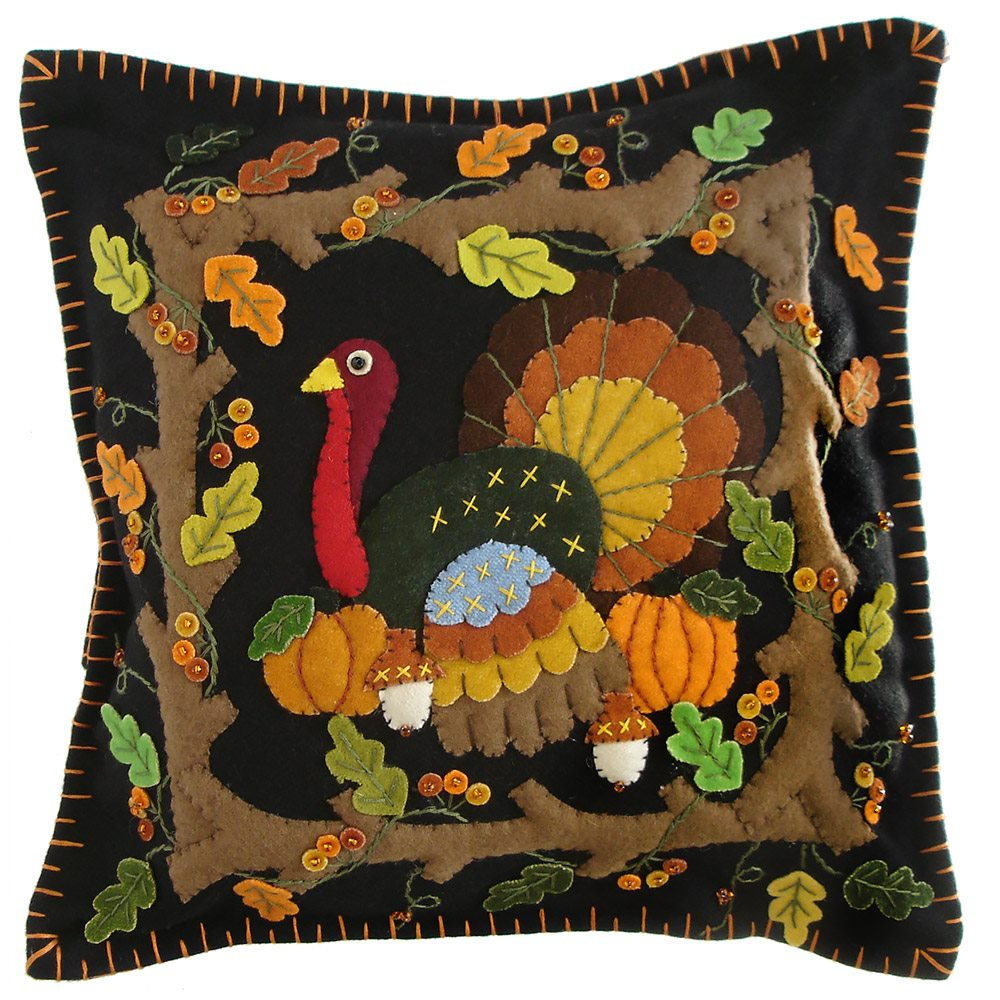 thanksgiving pillows pillow pumpkin embroidered set inch pin harvest fall of fabric