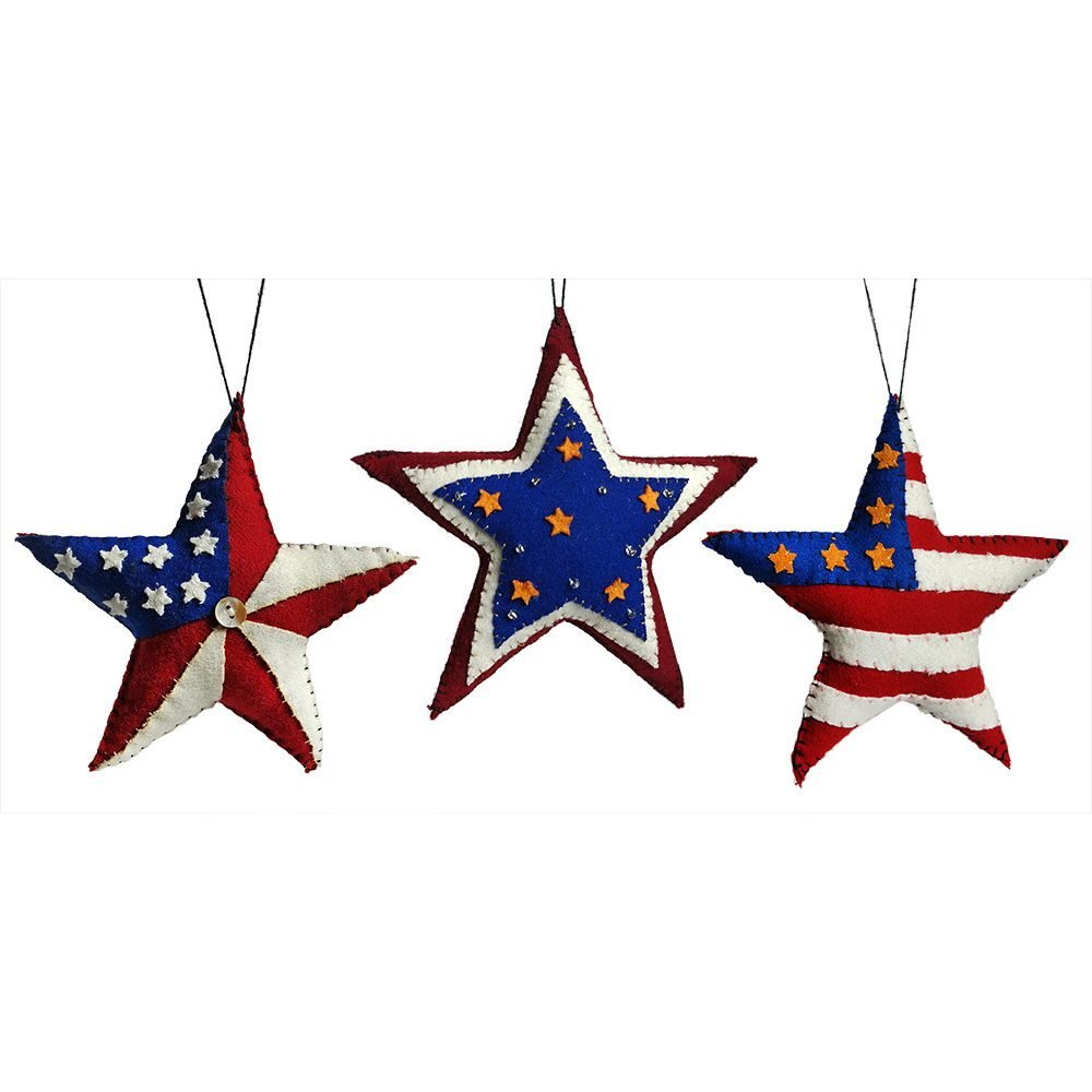 LAND THAT I LOVE PATRIOTIC WOOD STAR DECORATION ORNAMEN