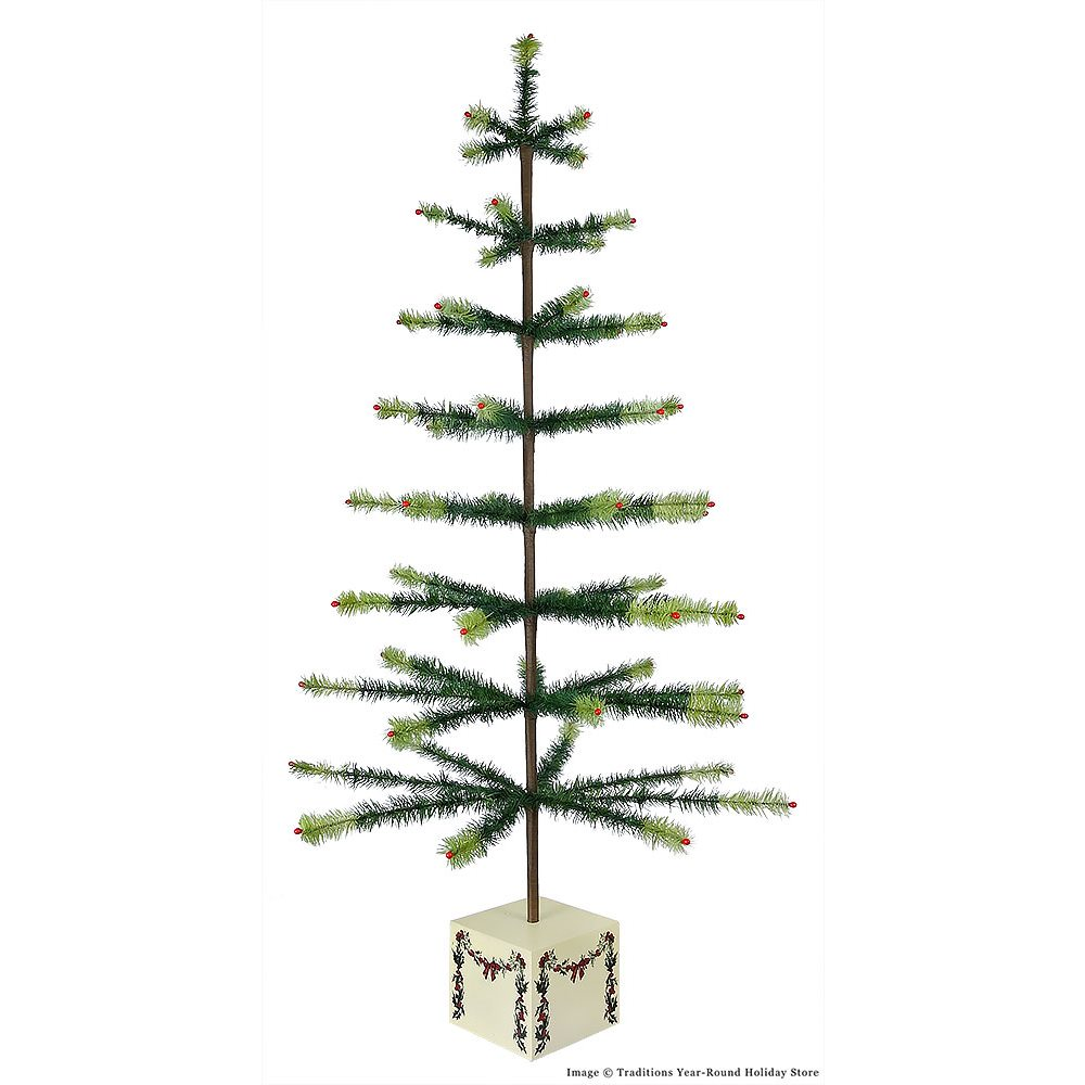 Two Toned Green Feather Tree With Garland Base By Bethany