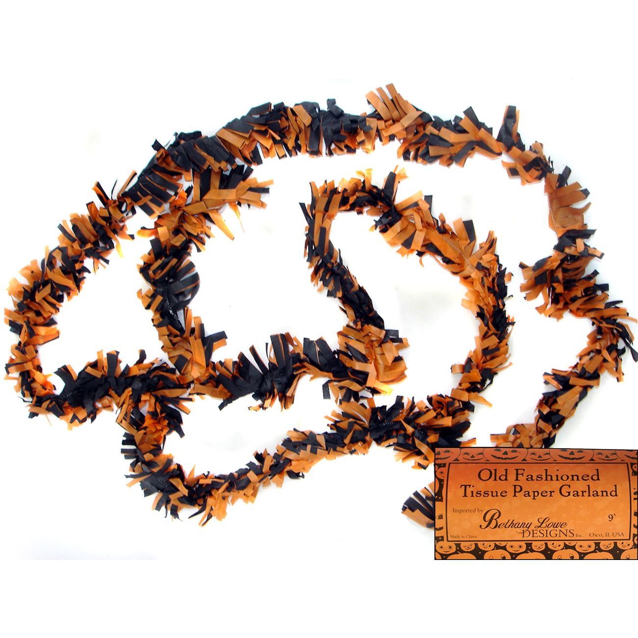 Skinny halloween tissue garland by bethany lowe traditions