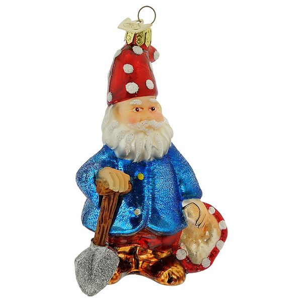 Blue Jacket Gnome With Shovel Ornament By Kurt Adler