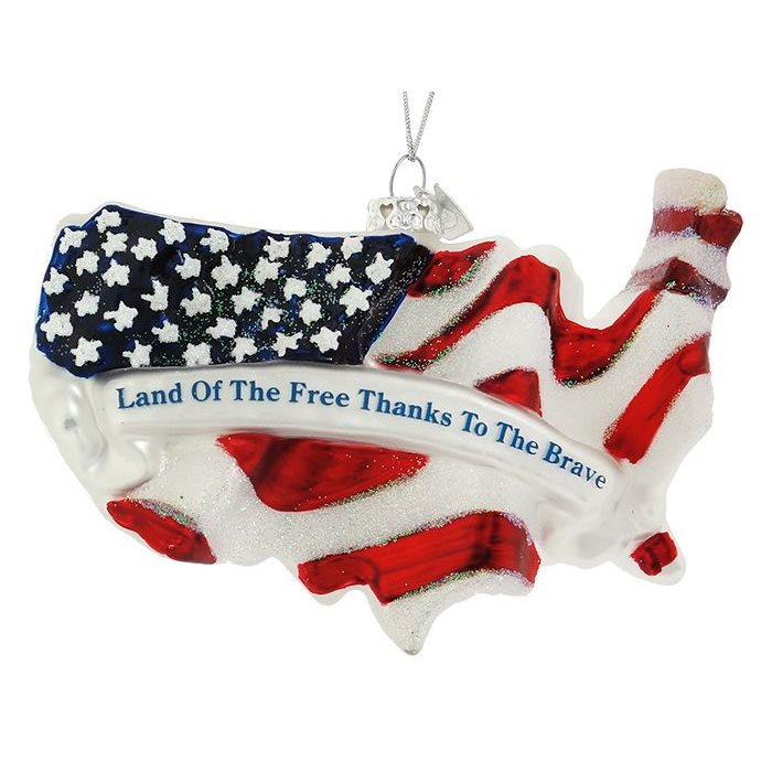 Land of the Free Thanks to the Brave Ornament - 4th Of July Glass Ornaments, Patriotic & Memorial Day Ornaments