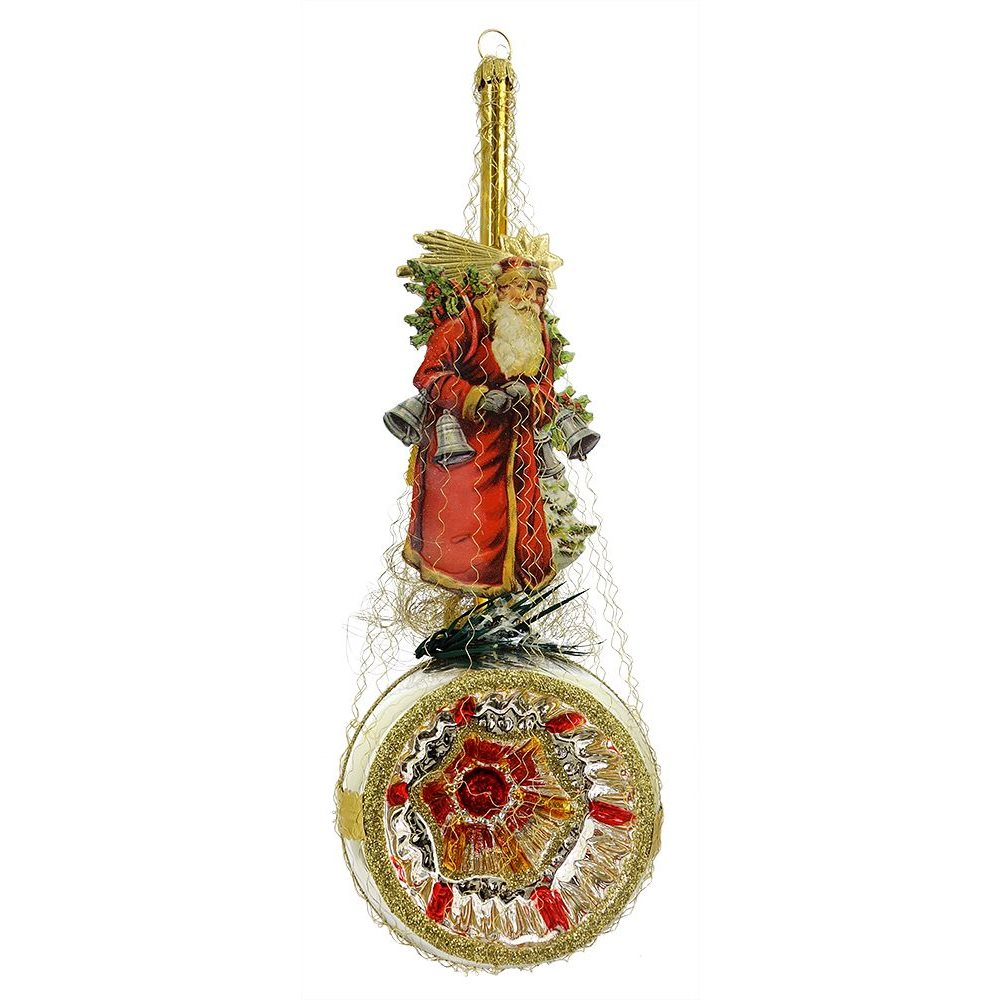 red coat santa with four bells above reflector ornament