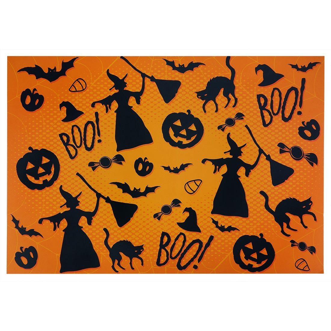 Orange Halloween Print Placemats Pack Of 25