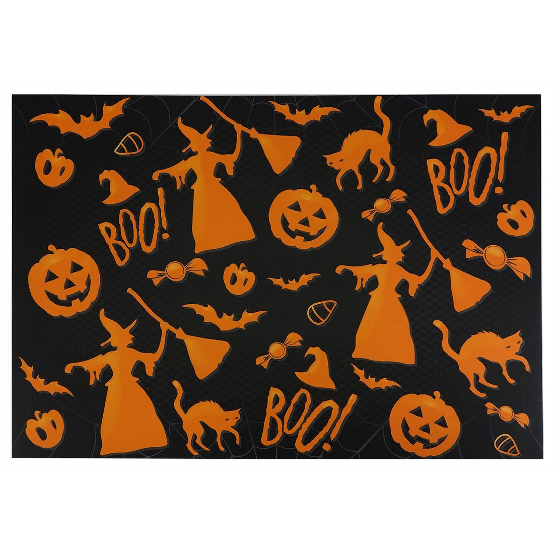Black Halloween Print Placemats Pack of 25 - Halloween Tree Skirts & Rugs - Traditions