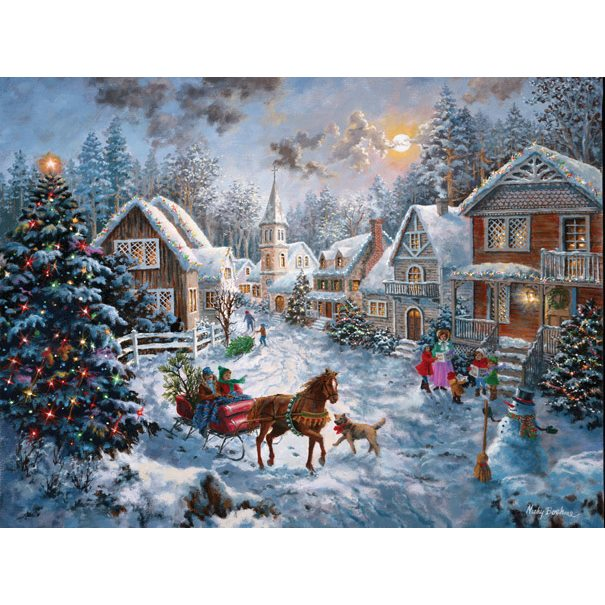 """Christmas Santa Puzzle Multi-Picture Made in America 24x30/"""" 1000pc  Large Pieces"""