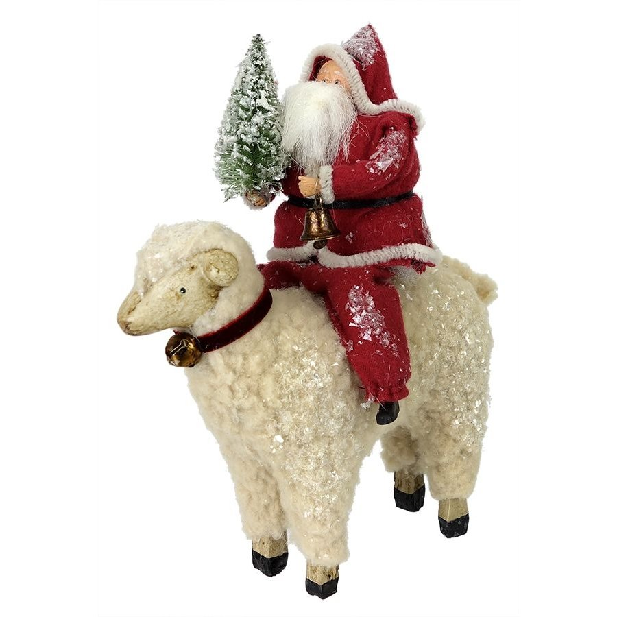 Santa With Tree Riding A Sheep Traditions