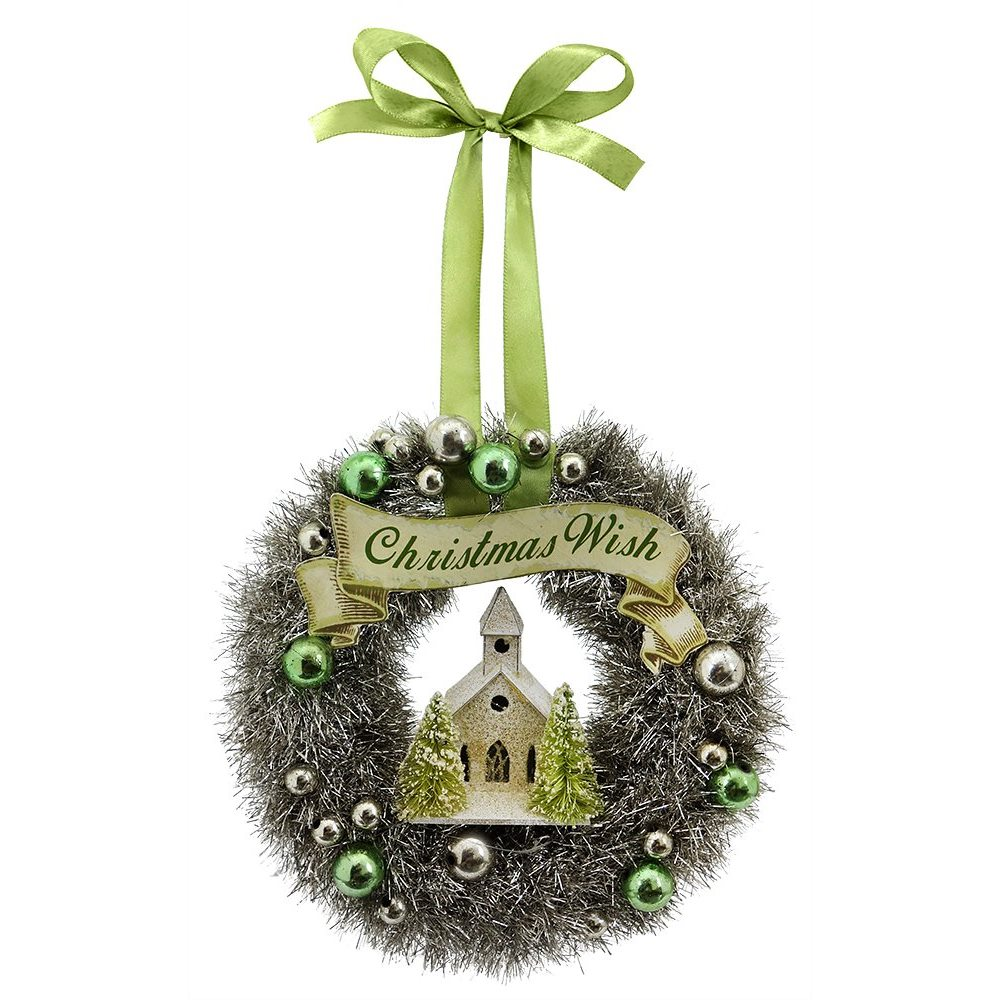 Green tinsel wreath with church ornament by bethany lowe