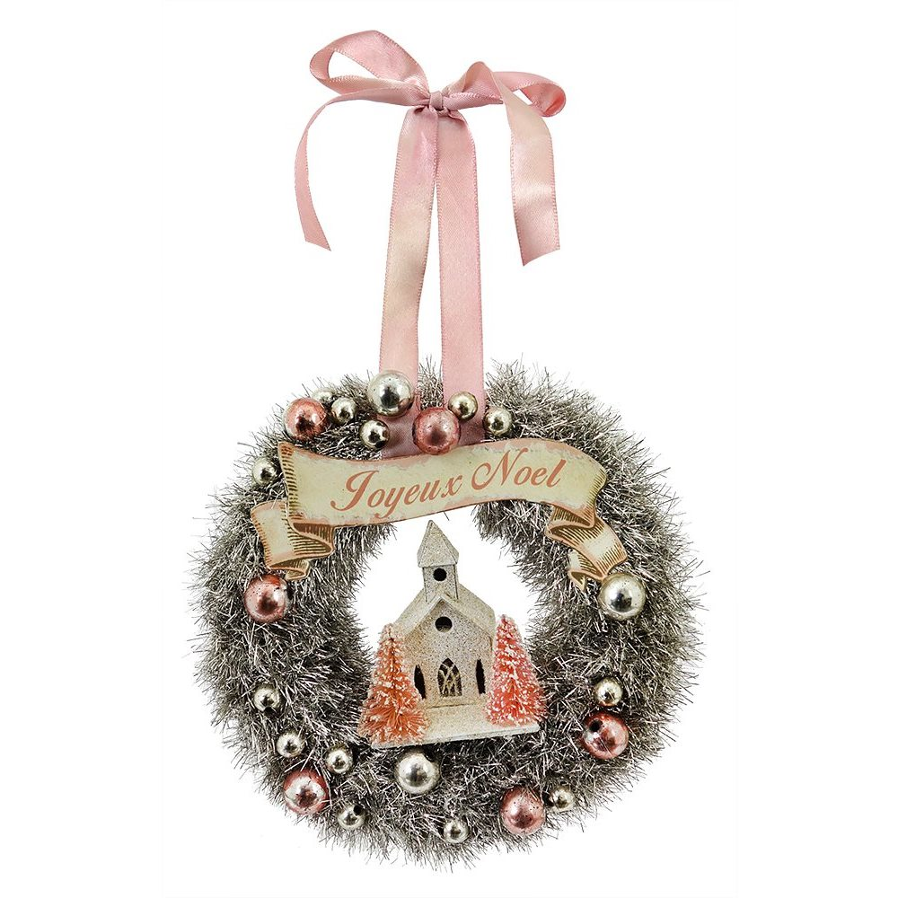 Pink Tinsel Wreath With Church Ornament By Bethany Lowe